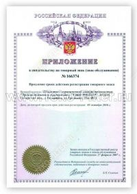 Annex to the certificate for trademark No. 166374